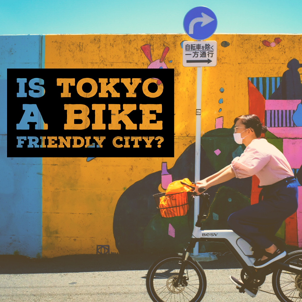A Japanese girl on her mamachari bicycle, cycling in Tokyo.