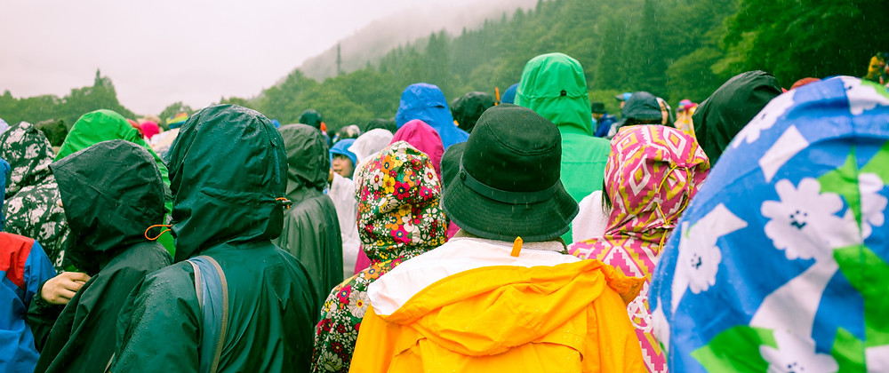 Crowds moving between stages at the Fuji Rock Festival.