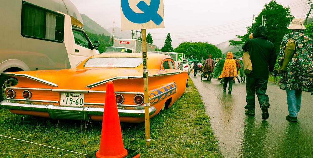 Parking area at Fuji Rock Festival.