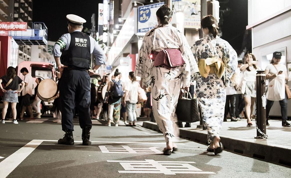 Police in Koenji.