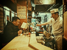A customer enjoying his tempura lunch at Tensuke in Koenji.