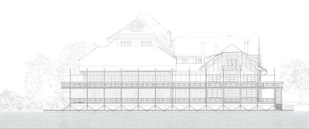 Ansicht Waaghaus mit der neuen Terrasse.