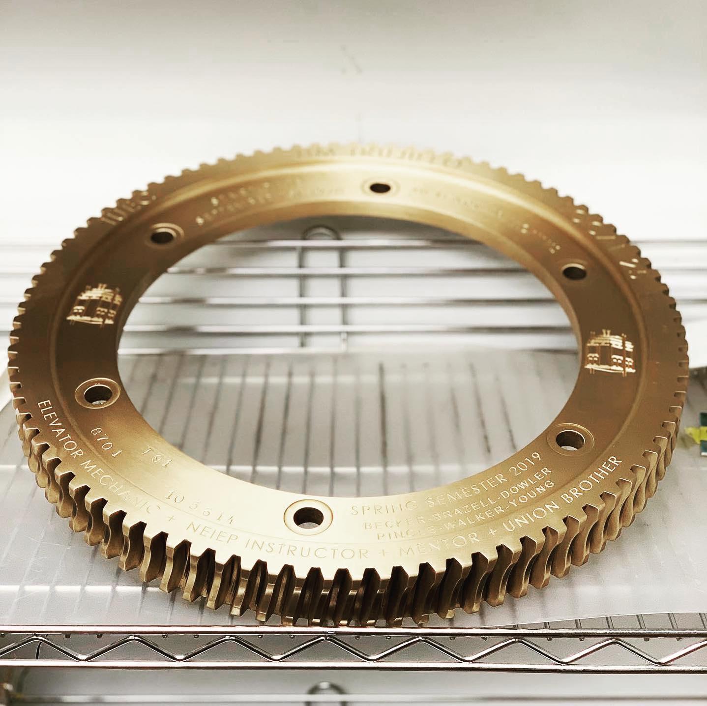 Engraved Brass Gear