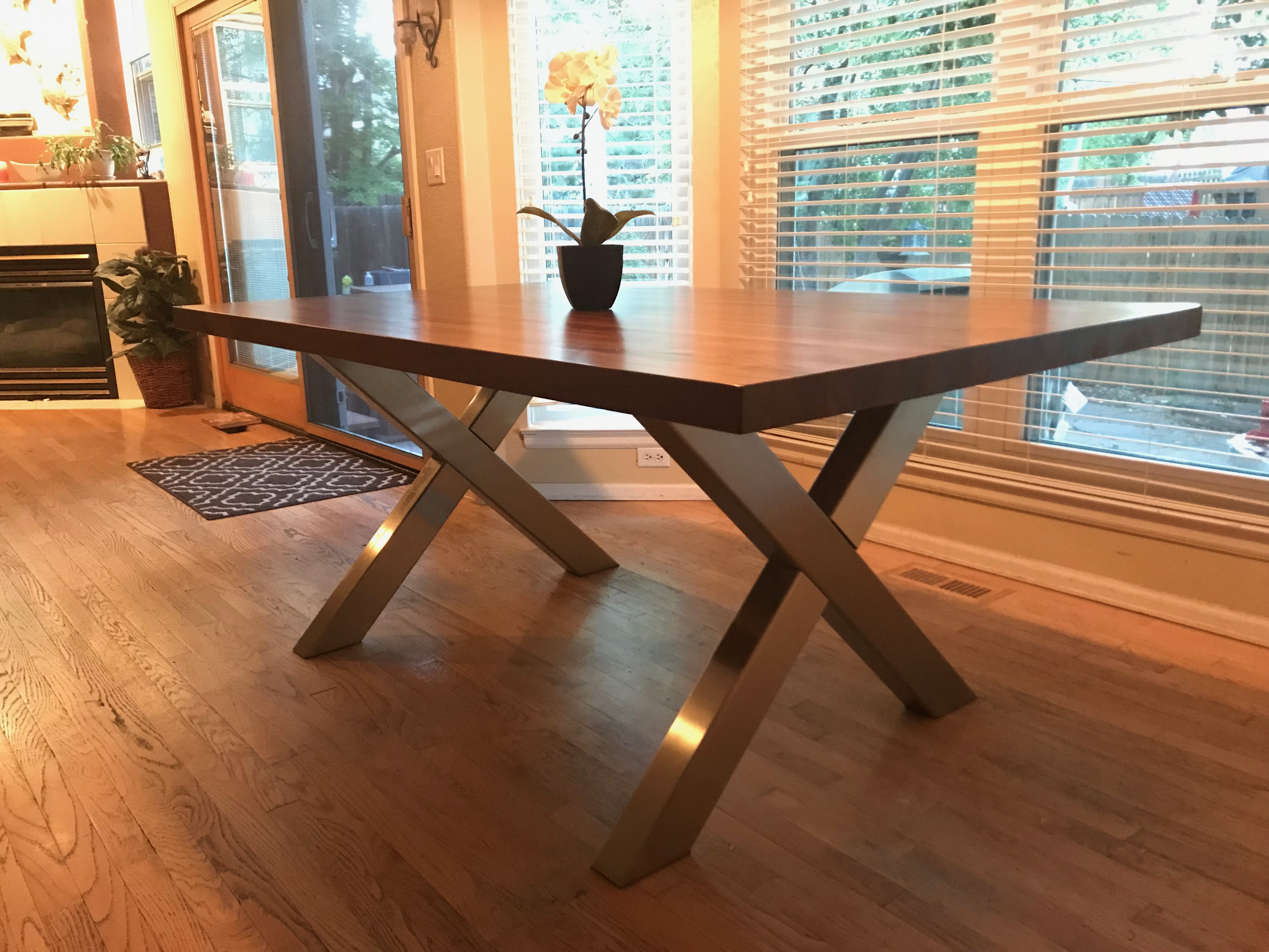 "Stainless Steel ""X"" Table Base"