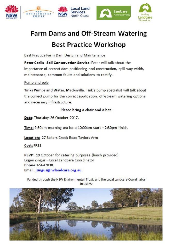 Farm Dams and Off-Stream Watering Best Practice Workshop