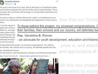 Rep. Geraldine Roman congratulates Project Saysay
