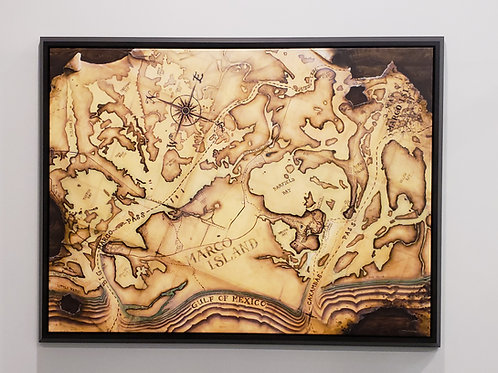"""ISLANDERS PIONEER MAP"" (Dark Java Beveled Frame)"