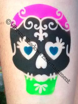 Sugar skull airbrush tattoo