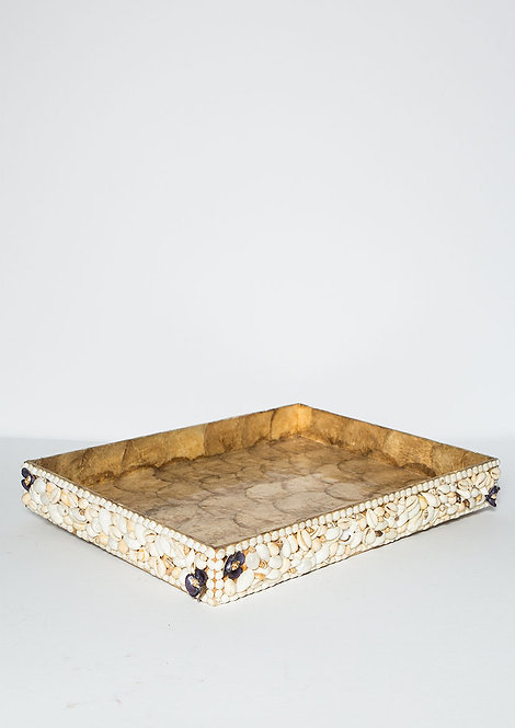 Sea Shell Rectangular Tray Gold