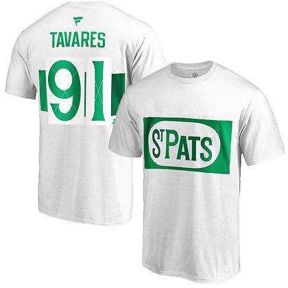 Men's Toronto St. Pats John Tavares Fanatics White Name and Number T-shirt
