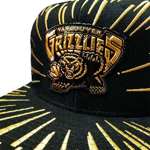 72d613f432132e Men's Vancouver Grizzlies Nucleo Gold Mitchell & Ness Black Snapback Hat