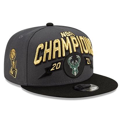 Men's Milwaukee Bucks New Era Black 2021 NBA Champions Locker Room 9FIFTY Hat