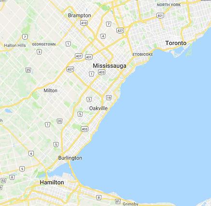 Toronto, Oakville, Milton, Mississauga, Burlington map