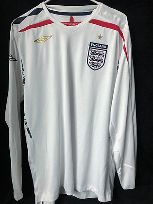Men's England UMBRO 2007-9 Long Sleeve Soccer Jersey