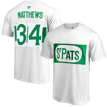 Men's Toronto St. Pats Auston Matthews Fanatics White Name and Number T-shirt