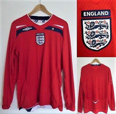 Men's England UMBRO Away Red 07-09 LS Soccer Jersey