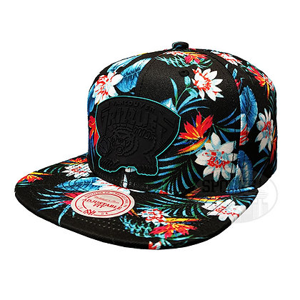 Men's Vancouver Grizzlies Floral BREAK Mitchell & Ness Black Snapback Hat