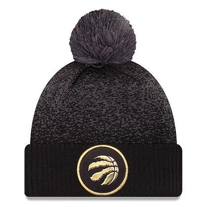 Men's Toronto Raptors New Era Black On-Court Gold Logo Cuffed Knit Hat with Pom