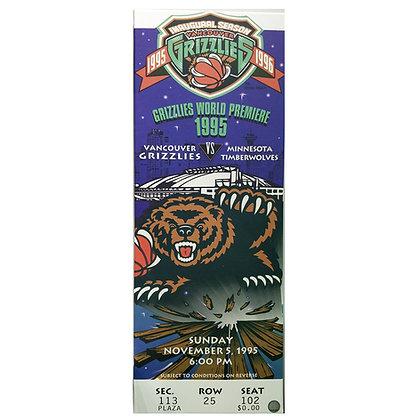 Grizzlies Ticket 1995 Commemorative World Premiere (Home Debut)