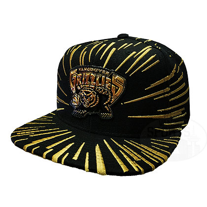 Men's Vancouver Grizzlies Nucleo Gold Mitchell & Ness Black Snapback Hat