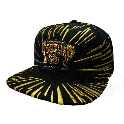 new style a4e53 1e9dd Men s Vancouver Grizzlies Nucleo Gold Mitchell   Ness Black Snapback Hat