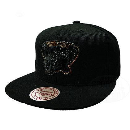 Men's Vancouver Grizzlies Presto Gold Trim Mitchell & Ness Black Snapback Hat