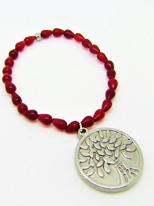 Rubinquarz mit Lebensbaumanhänger aus Edelstahl