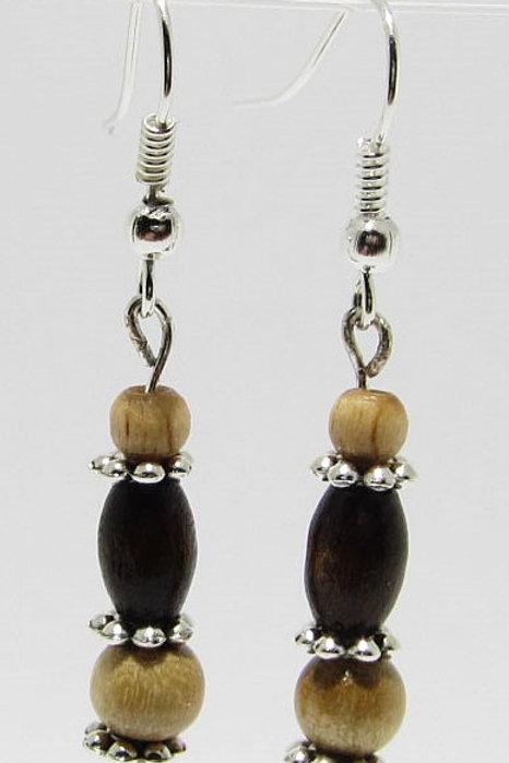 Holzperlen mit Tibetischem Silber
