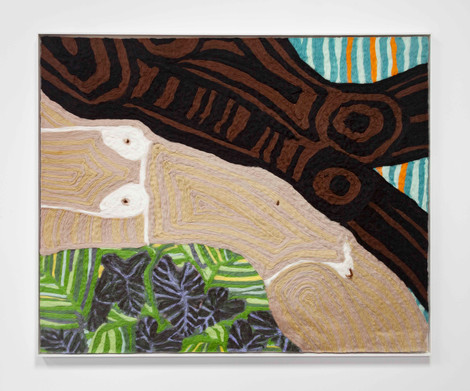 """Woman and Man Reclining on Mat #9, 2019 51.25 x 41.25"""" wool roving needle punched on cashmere"""
