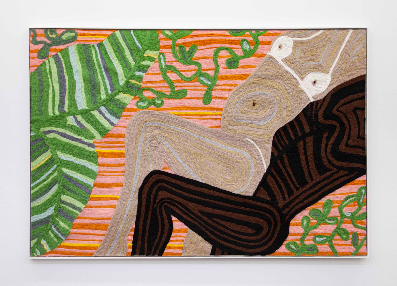 """Woman and Man Reclining on Mat #13, 2019 70.5 x 48.25"""" wool roving needle punched on cashmere"""