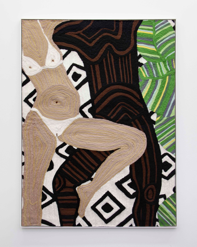 """Woman and Man Reclining on Mat #12, 2019 70.5 x 48.25"""" wool roving needle punched on cashmere"""