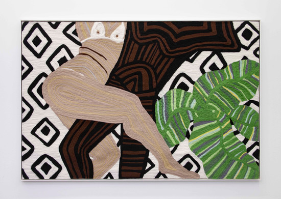 """Woman and Man Reclining on Mat #11, 2019 70.5 x 48.25"""" wool roving needle punched on cashmere"""