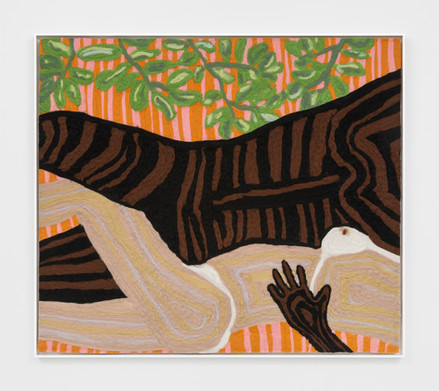 """Woman and Man Reclining on Mat #3, 2019 47.25 x 41.25"""" wool roving needle punched on cashmere"""