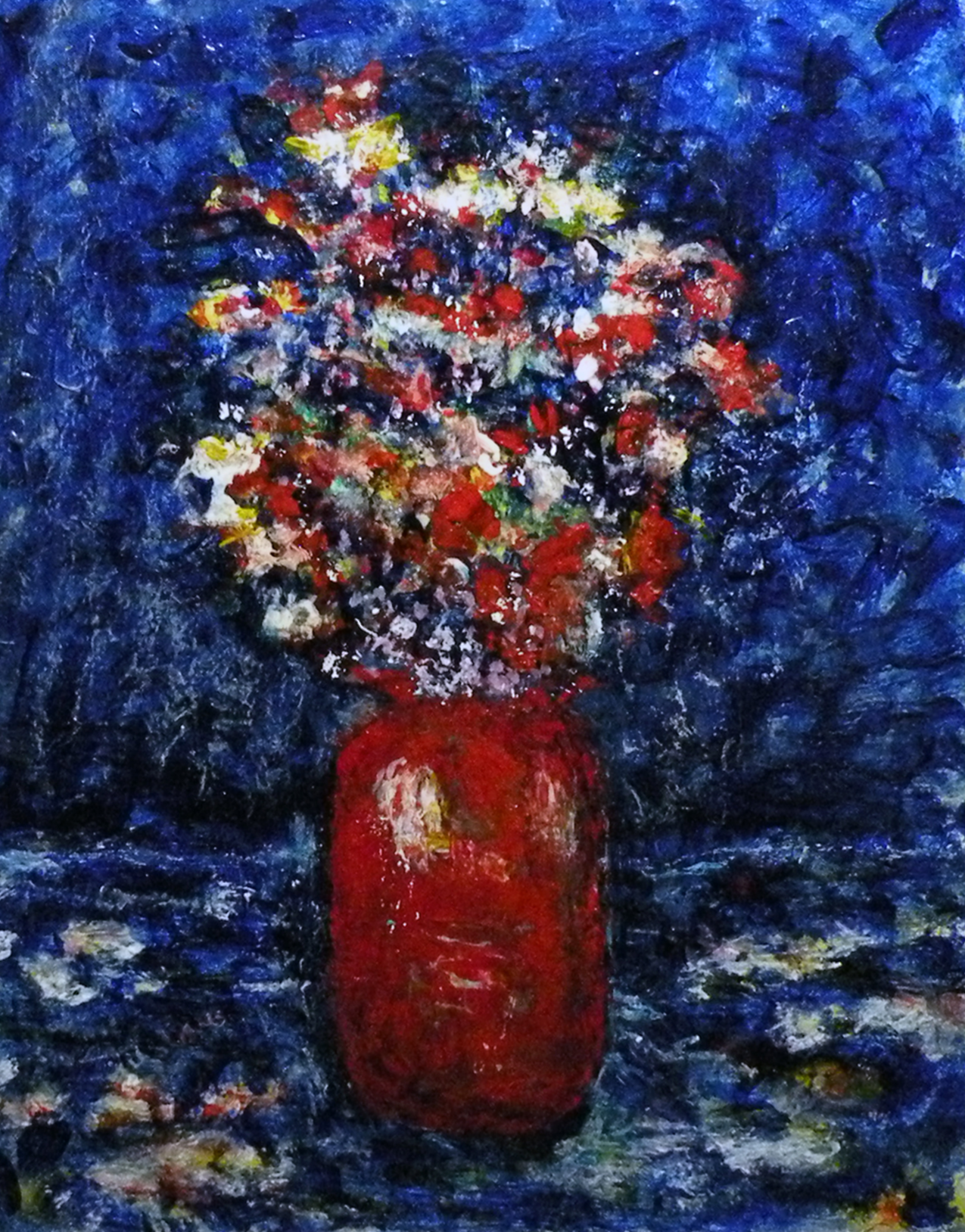 Orange Vase with Flowers
