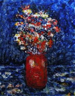 Orange Vase with Flowers