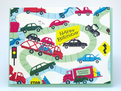 """Crazy Cars"" Happy Birthday Card"