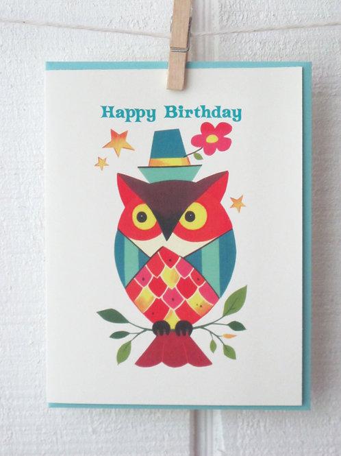 """Owl"" Happy Birthday Card"