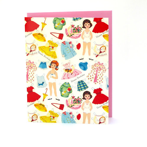 """Paper Doll"" Happy Birthday Card"