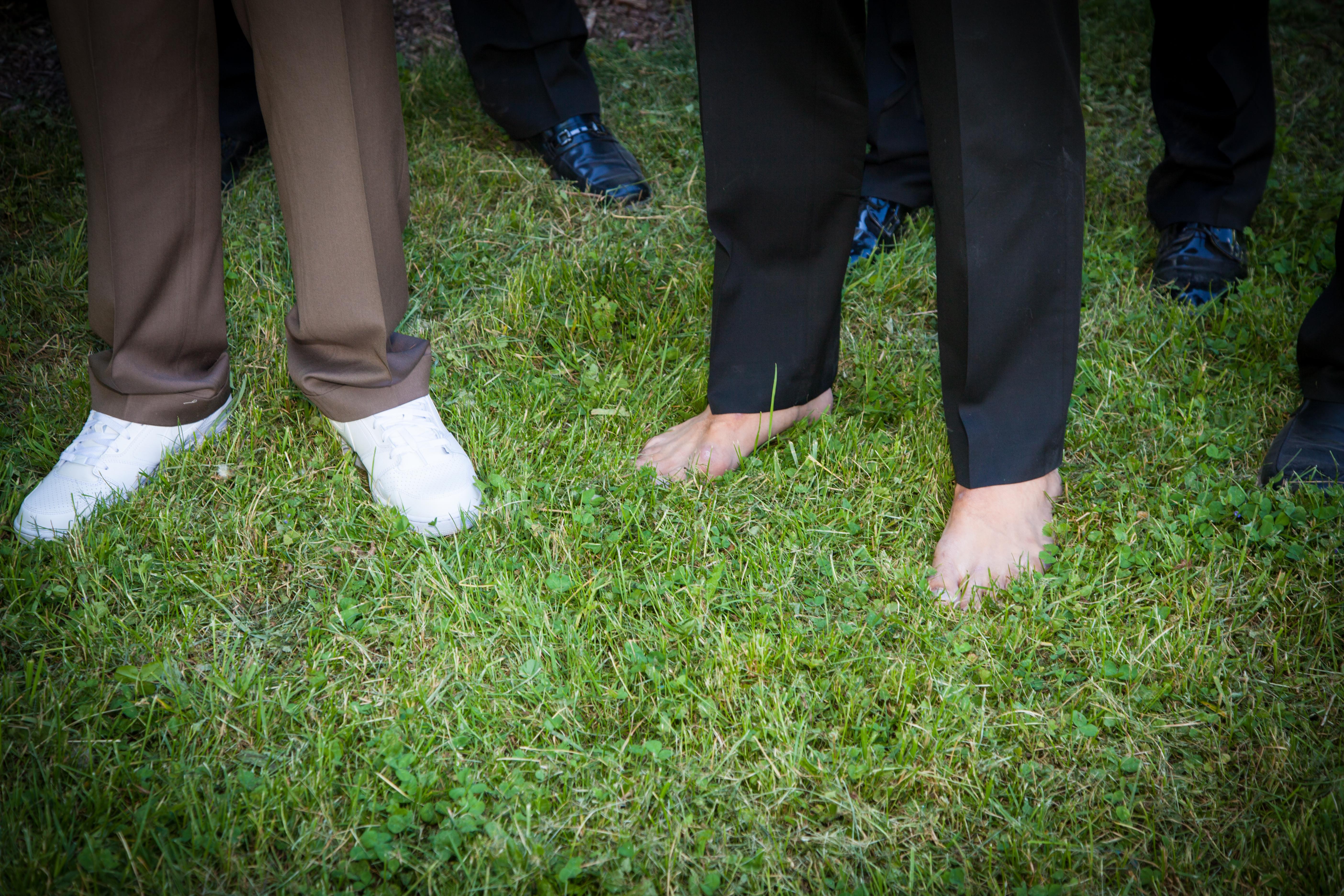 barefoot groomsmen