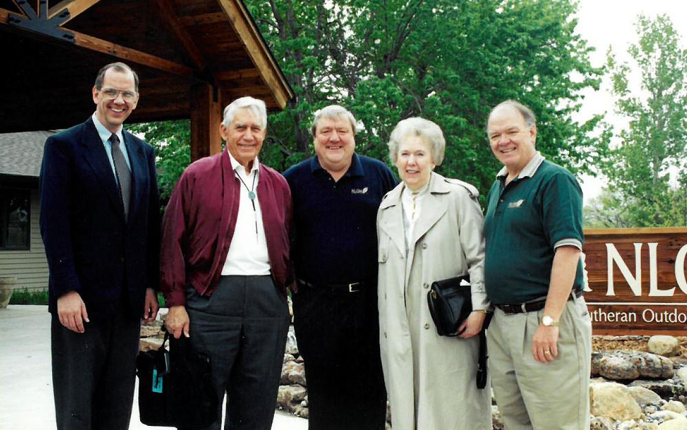Rev. Mark Grorud, Rev. Dr. Reuben Swanson, Rev. Roger Sasse, Darlene Swanson and Dave Coker celebrating NLOM's first $1 million gift to build The Swanson Retreat Center.