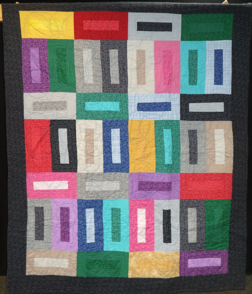 Blueberry Hill quilt hand quilted bright colors rectangular blocks