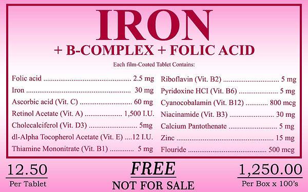 Iron, BComplex, Folic Acid, Bibo Myzkeene