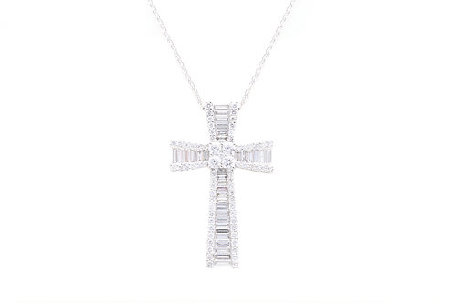 3ct Baguette Diamond Cross
