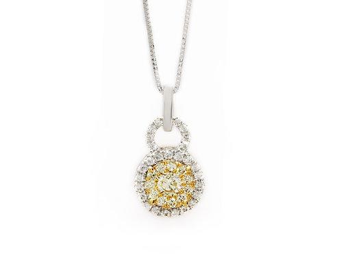 Yellow Diamond Round Halo Necklace