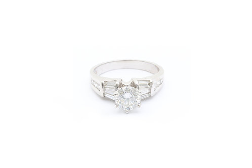 0.85 ct Round Cut Engagement Ring - Baguette Sides