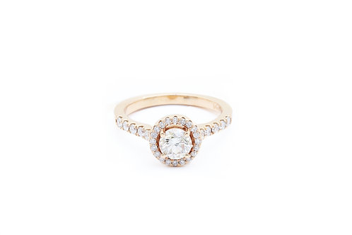 Rose Gold Round Halo Engagement Ring