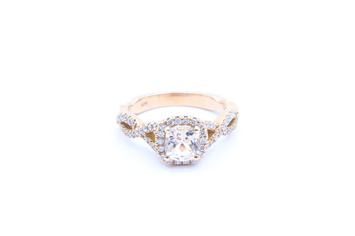 Cushion Morganite Infinity Halo Ring
