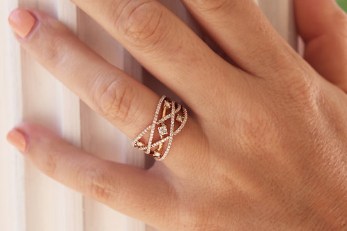 1ct Bypass Entwisted Diamond Ring - Rose Gold