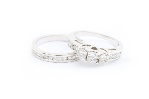 Three Stone Princess Cut Bridal Set - 1.00cttw