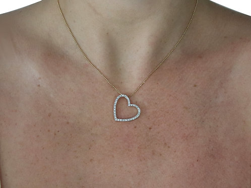 Slanted Diamond Heart Necklace